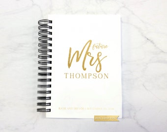 Wedding Planner Book, Wedding Planner Journal, Wedding Planner Customized, Bridal Shower Gift for Bride with Real Gold Foil - White