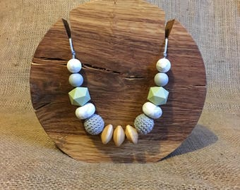 Olive green and grey mama necklace
