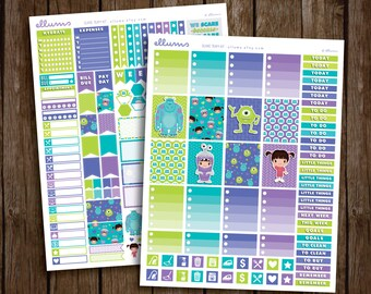 Scare Team Weekly Kit   PRINTABLE pdf jpg   Disney™ Monsters Inc Inspired Planner Stickers   Sulley Mike   fits Erin Condren or Recollection
