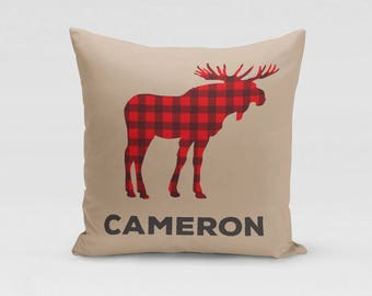 Personalized Moose Throw Pillow Cover - Customized Twill Pillowcase - Lumberjack Red Buffalo Plaid - Personalized with Name - COVER only