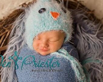 Baby Hat, Knit Newborn Hat, Photography Prop, Newborn photo prop, Blue Bird Baby Hat, Baby Photo Prop Little BlueJay Hat