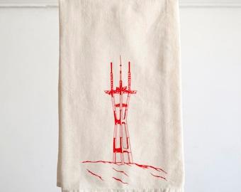 Flour Sack Dish Towel - Sutro Tower design,  Screen Printed in Raspberry Red - San Francisco Bay Area Landmark