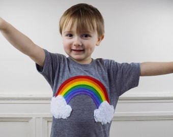 rainbow, clouds, shirt, clothing, handmade, kids, childrens, toddler, graphic tee, trendy, hipster, equality, gay pride, love,
