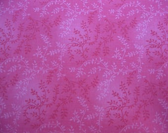 100 percent cotton fabric/pink/with flower vines/quilting/crafts/apparel/by the yard