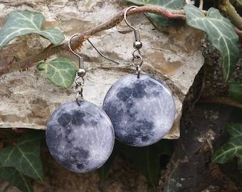 Moon Earrings - Full Moon Jewelry - Real Moon Earrings - Resin Earrings - Solar System - Resin Jewelry - Space Jewelry - Galaxy Jewelry