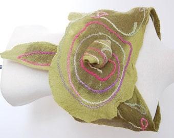 Olive Green Silk Scarf Nuno Felt Clothing Womens Silk Shawl Silk Wrap Felting Unique Handmade Scarves Merino Wool Felted Collar Wearable Art
