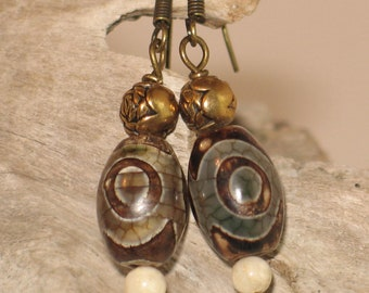 Brass & Chinese Dzi Bead Earrings