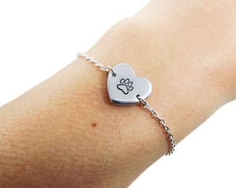 Paw Print Bracelet - Always in my Heart | Pet Memorial Bracelet | Pet Loss Jewelry | Pet Lover | Animal Lover | Paw Print Jewelry | Dog Loss