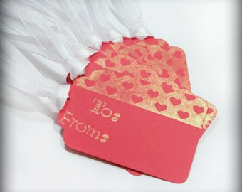 Valentines To From Tags Set 6 Blank holiday gift present tag love gold red hearts