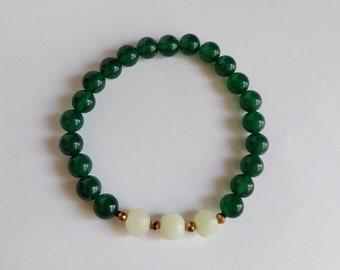 Agate, Jade and Hematit Bracelet