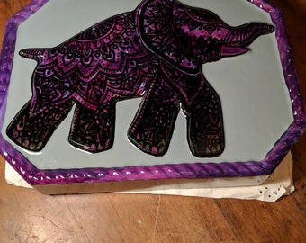 Purple Henna Elephant Stepping Stone-Free Shipping