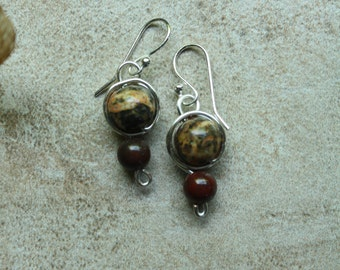 157 Leopard jasper and silver wire wrapped drop earrings with sterling silver ear wires