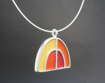Half Dome Necklace - New Century Modern - Red and Green Reversible Enamel Necklace