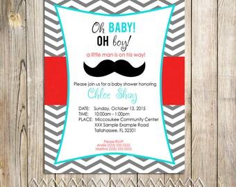 Little Man Printable Baby Shower Invitation