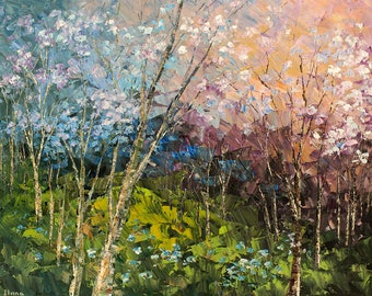 Forest painting, canvas print of original glorious wild flowers palette knife abstract BLOSSOM CHRONICLES - by Tatiana Iliina