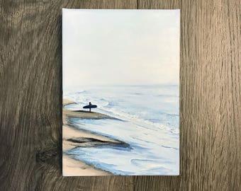 Patience, ORIGINAL Surf Beach Oil Painting