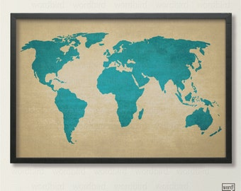Rustic World Map Poster, Vintage Map of the World, Printed Canvas Texture World Map, Travel Decor, Travel Poster, Blue Decor