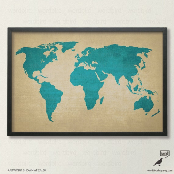 Rustic world map poster vintage map of the world printed gumiabroncs Gallery