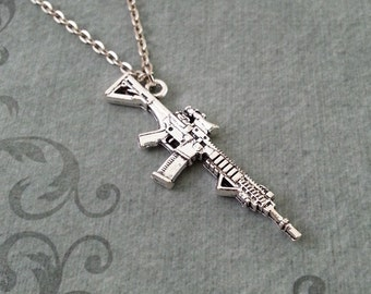 Rifle Necklace, SMALL Gun Jewelry, Machine Gun Pendant Necklace, Gun Charm, Gun Jewelry, Machine Gun Necklace, Gun Gift, Silver Necklace
