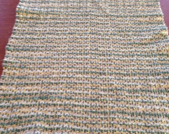 Handwoven table runner in country sage cotton