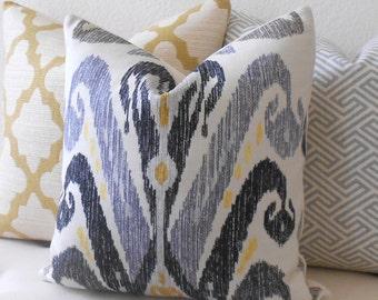 Gray and yellow ikat pillow, Nate Berkus Kopacki decorative pillow cover