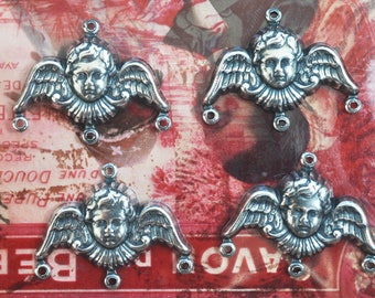 FOUR Angel Charms, Sterling Silver Finish, Findings and Brass Stampings Made in the USA