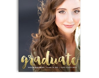 Senior Graduation Announcement Card - Graduation Open House Invite - 5x7 Flat Card - Senior Boy or Senior Girl  - TAYLOR - 1417