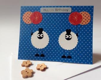 Birthday Card - Homemade Birthday Card - Handmade Sheep Birthday Card - Sheep Birthday Card - Sheep Greeting Card - Handmade Sheep Card