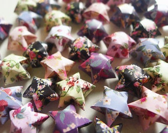 Retro Floral Mixed Origami Lucky Stars-Floral Wishing Stars/Party Supply/Home Decor/Gift Fillers/Embellishment