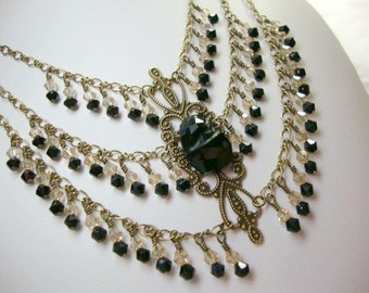 Statement Necklace, The Duchess in Black Antique Bronze with Black and Taupe Crystals Special Occasion Jewelry
