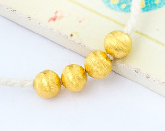 4 of 925 Karen Hill Tribe 24k Vermeil Style  Brushed Round Beads 6 mm.  :vm0861