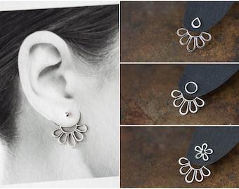 Minimalist Silver Ear Jacket, Modern minimal sterling silver petals outline, mix and match stud earrings, handmade artisan jewelry
