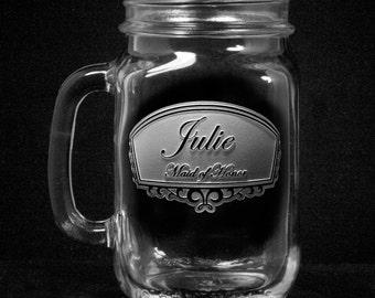 Bridesmaid Gifts, Country Wedding Mason Jar Mugs with Handle, Favors, Set of 6 (bridesmaidmason)