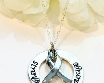 Hand Stamped Cancer Awareness  Necklace- Cancer Necklace-Breast Cancer Necklace