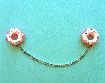 "Handmade ""Donut Darlin'"" Donut Collar Pins or Sweater Guards - White Frosting - Sweet Tooth Collection"