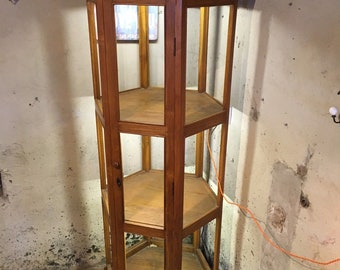 large mahogany tall boy display cabinet lighting shelving
