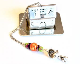 BBQ Grill Tea Infuser, Orange & Green Beaded Tea Ball, Barbecue Grill, Grill Master, Chef, House Tea Infuser, Mad Hatter Tea Party, Cook