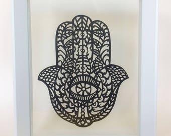 Hamsa Wall Art, Papercut Hand of Fatima, Original paper cut artwork, Papercutting Illustration, Papercraft, Spiritual decor, Good luck gifts