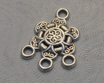LuxeOrnaments Antiqued Sterling Silver Plated Brass Filigree European Cast 4 ring Connector 21x15mm (1pc) B-13716-S