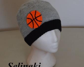 Knit Basketball Hat Sports Gray Beanie
