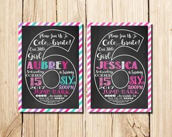 6th Birthday Invitation Girl, Сhalkboard, Sixth Birthday Invitation, Girl Birthday Invitation, Pink, Purple, Chalkboard, Sixth Birthday