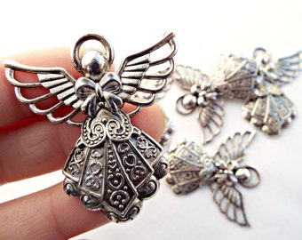 Silver Angel Pendant, Guardian Angel, Tibetan Silver, Silver Angel Charm, Findings Supplies, Silver Pendant, Set of 5 Angels, UK Seller