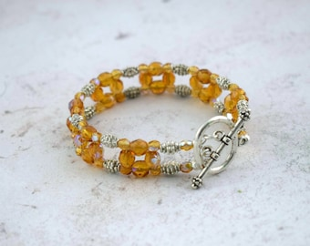 Amber Glass Bracelet Topaz Glass Bracelet  Cuff Bracelet  Prom Jewelry  Yellow Bracelet  Beaded Bracelet  Glass Bead Bracelet  Gift For Mum