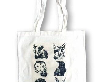 Fox Tote, Animals Tote, Gift For Her, Gift Idea, Tote, Weekender Bag, Shopper Bag, Grocery Bag, Market Bag, Shoulder Bag,Tote Canvas Handbag