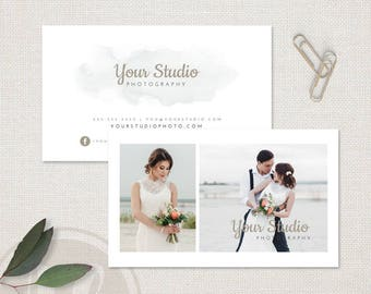 Photography Business Card - Watercolor Business Card Template, Instant Download, Photoshop Template for Photographers, Personalized Design
