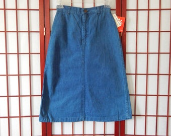 Vtg Deadstock NWT Lord and Taylor 1950s Below Knee A-Line Denim Skirt XS 0 (R2-118)