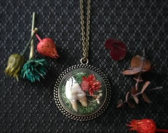 Glass Dome Deer Tooth Pendant