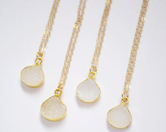 Delicate Gold Necklace, Druzy Necklace, Stone Necklace, White Druzy Stone Necklace, 14kt Gold Filled