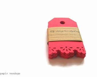 25 Red Lace Tags, Vintage Lace Red Tags,  Red gift tags, Red gift tags, Valentine gift  tags , Holiday gift tags