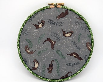 Memo Board, Hoop Art Decoration - Playful Otters fabric , Pin Board, wall art